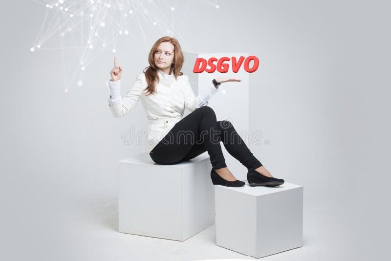 DSGVO, niemiecka wersja GDPR, pojęcie wizerunek Ogólnych dane ochrony przepis, ochrona osobiści dane Potomstwa obrazy royalty free