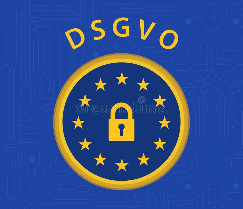 DSGVO regulation. General data protection regulation german mutation concept stock illustration