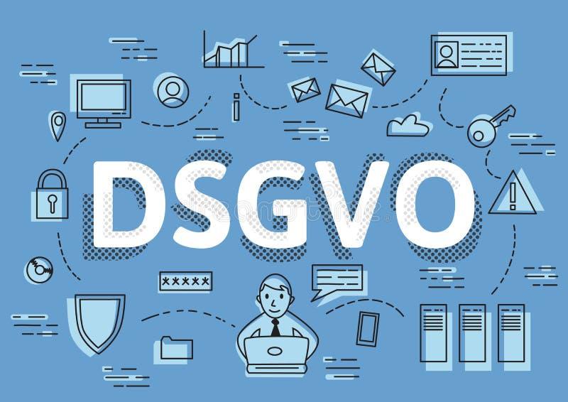 DSGVO, versão alemão de GDPR, ilustração do conceito do vetor Regulamento geral da proteção de dados, a proteção de ilustração stock