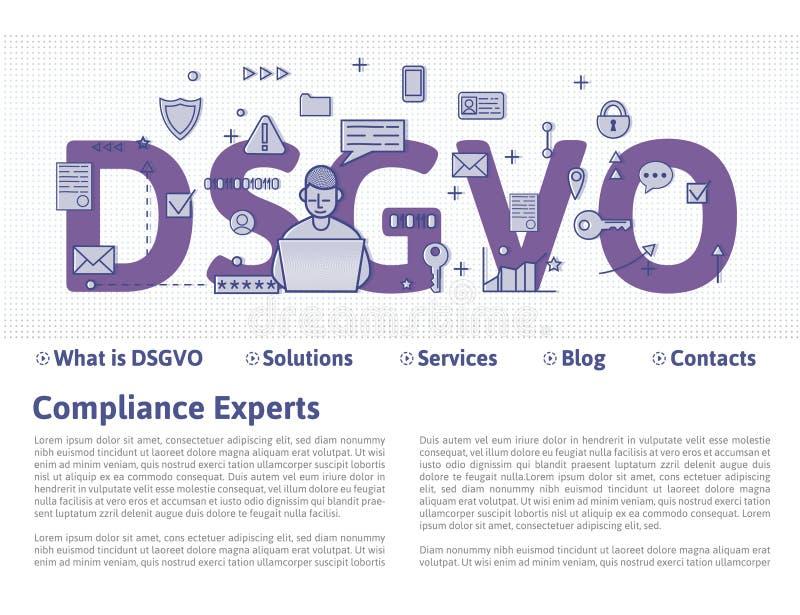 DSGVO, versión alemana de GDPR: Datenschutz Grundverordnung Ilustración del concepto Regulación general de la protección de datos stock de ilustración