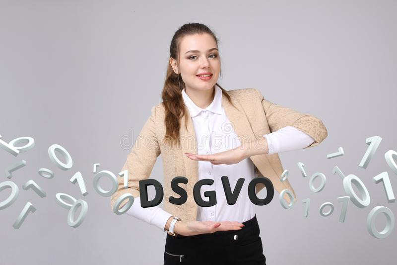 DSGVO, versión alemana de GDPR, imagen del concepto Regulación general de la protección de datos, protección de datos personales  imágenes de archivo libres de regalías