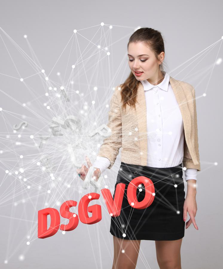 DSGVO, versión alemana de GDPR, imagen del concepto Regulación general de la protección de datos, protección de datos personales  imagenes de archivo