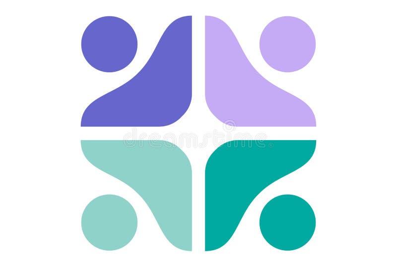 Dsign abstrait de vecteur de logo de travail d'équipe illustration libre de droits