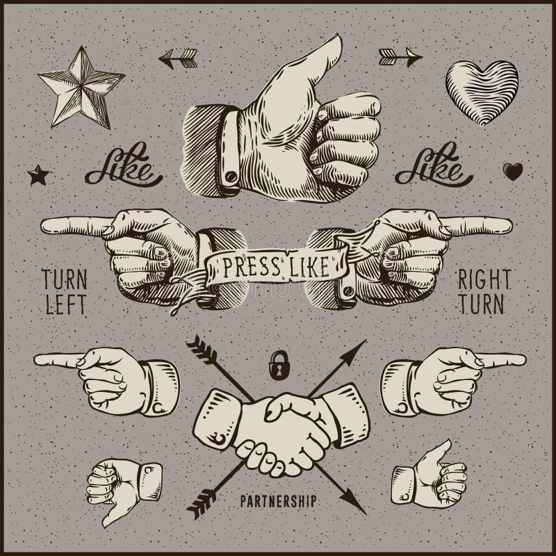 Dsign elements - thumb up, pointer, handshake. royalty free illustration
