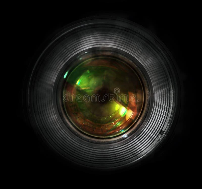 DSLR摄象机镜头,正面图 库存照片