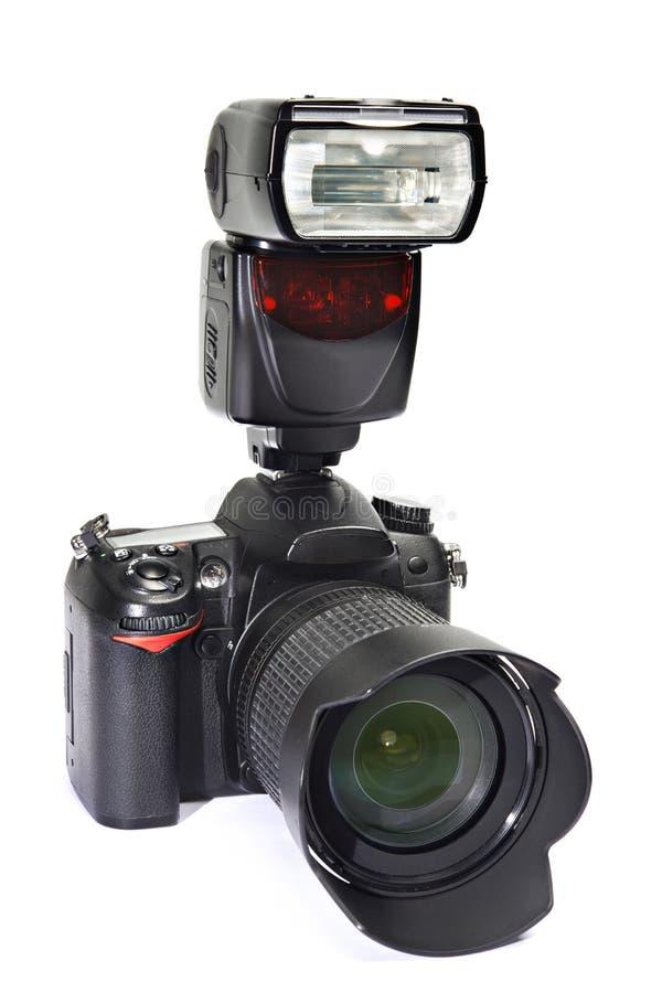 DSLR照相机、透镜和闪光 免版税库存照片