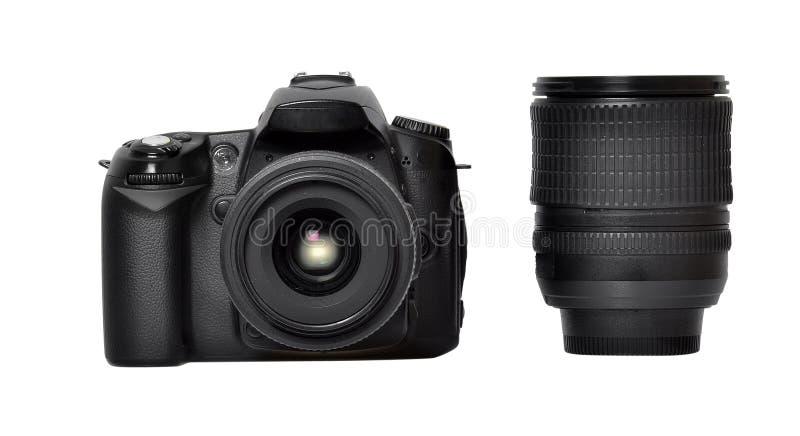 DSLR照相机和透镜 免版税库存图片