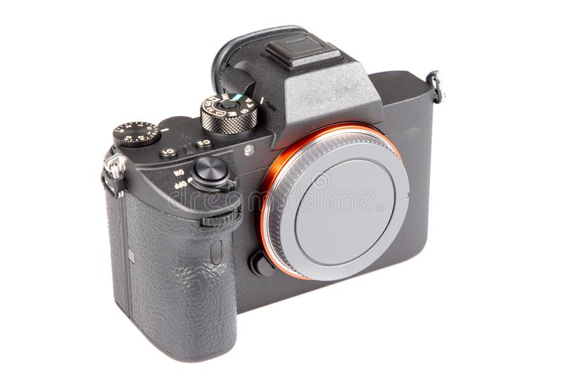 DSLR black Camera in front view with no lens. A DSLR black Camera in front view with no lens stock photos