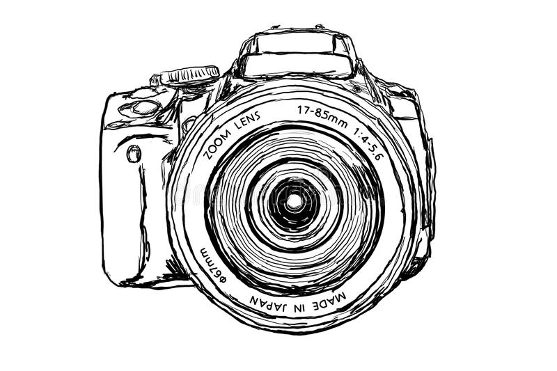 DSLR Camera - front view. Digital Single Lens Reflex Camera on white background