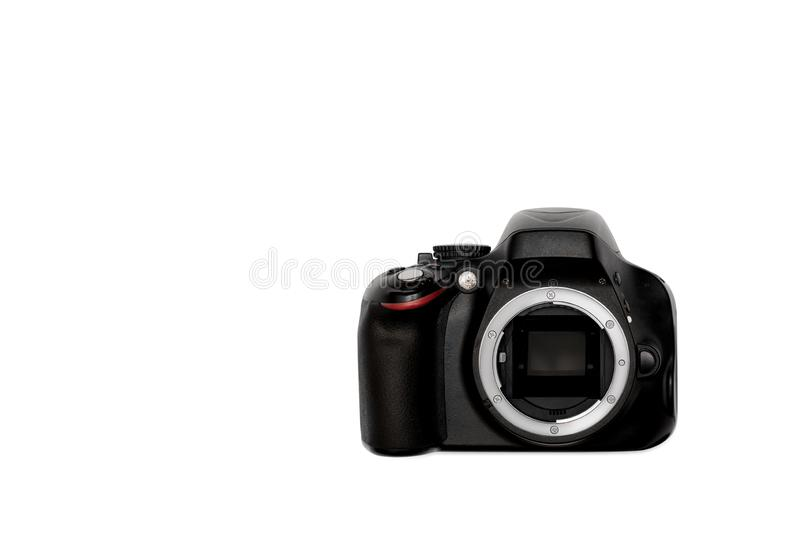 DSLR camera isolated on a white background.  stock photos