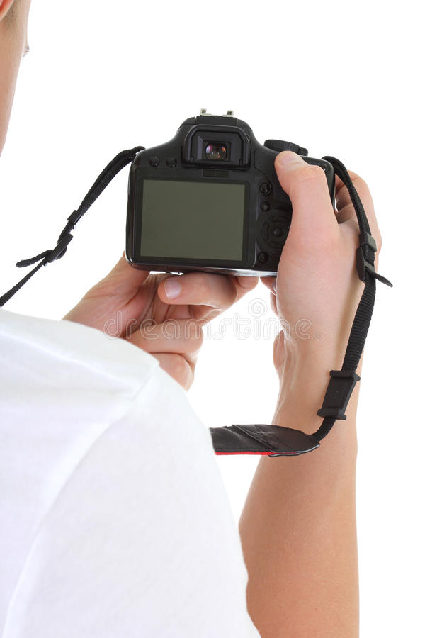 Download Dslr camera in male hands stock photo. Image of isolated - 22722380