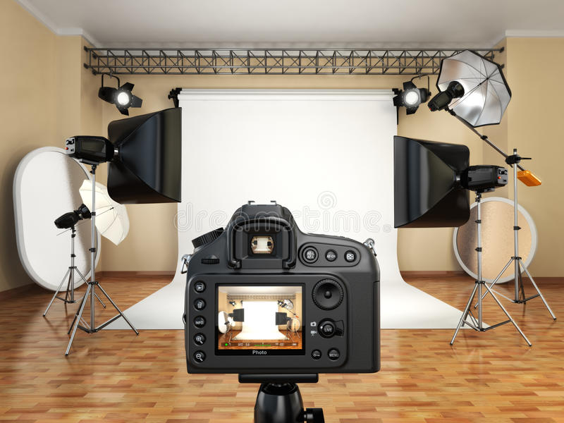 DSLR camera in photo studio with lighting equipment, softbox and royalty free illustration