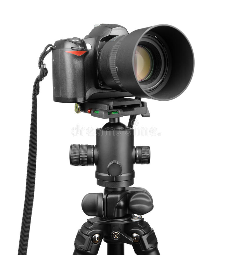 Download DSLR camera on tripod. stock image. Image of attached - 39820603