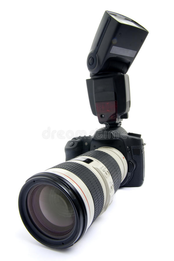 Download DSLR Camera With Zoom Lens. Stock Photo - Image of camera, isolated: 10781188