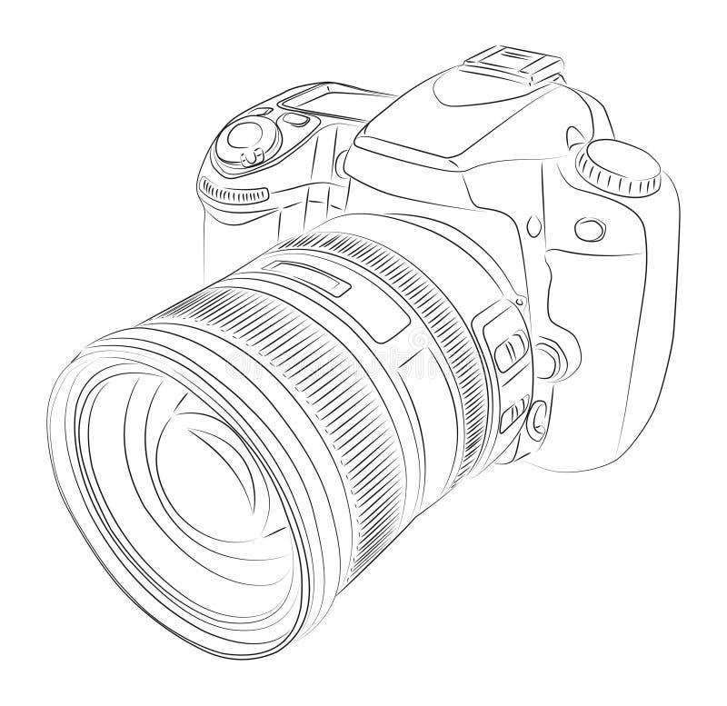 DSLR com lente ilustração royalty free