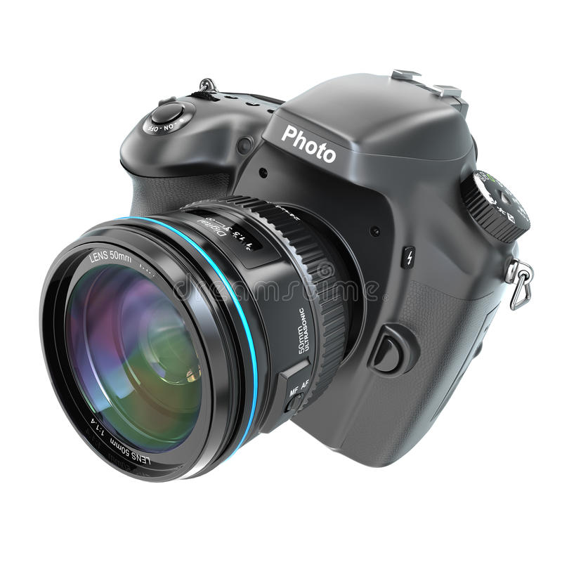 DSLR Digital photo camera isolted on white. royalty free illustration