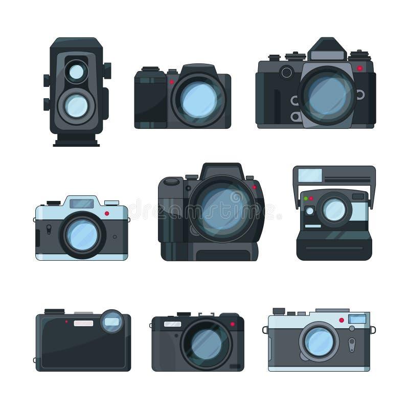 Dslr fotografii kamery Wektorowy ustawiający w kreskówka stylu ilustracji