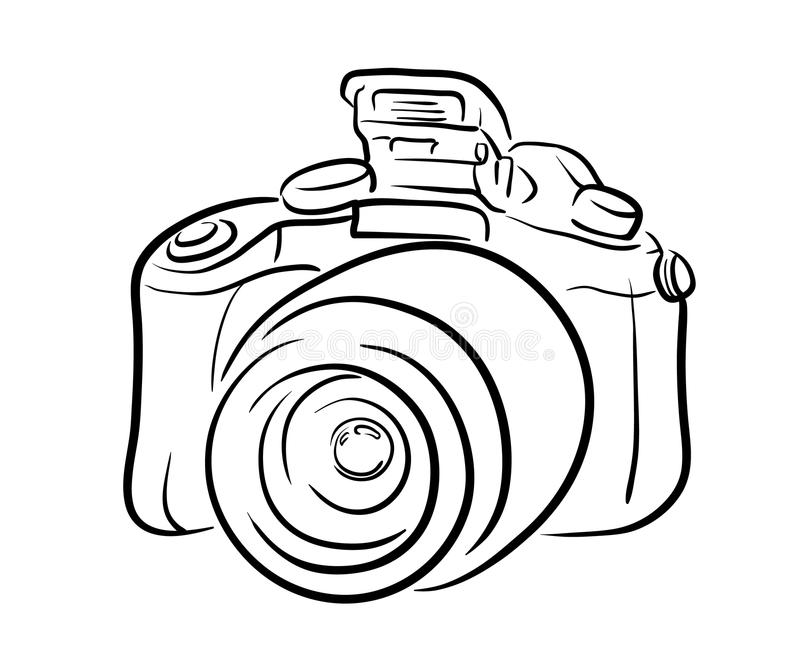 DSLR-kameralinje konst stock illustrationer