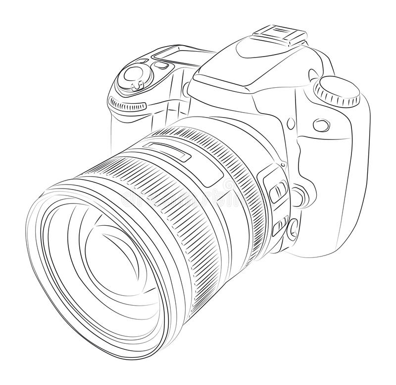 DSLR met lens royalty-vrije illustratie