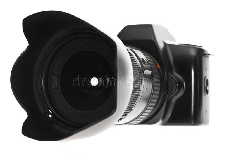 DSLR mit einem Weitwinkelobjektiv stockbilder