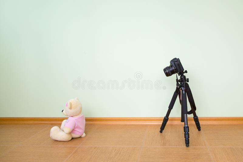 The DSLR on a tripod is aimed at a toy polar bear against the background of an empty light green wall. Concept master class training novice  photographers stock photo