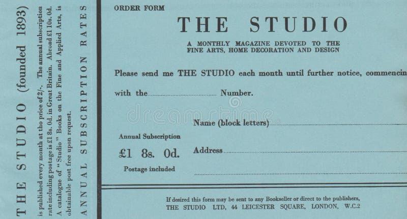 DT00054 ΛΟΝΔΙΝΟ 1910 ΤΟ ΈΝΤΥΠΟ ΔΙΆΤΑΞΗΣ ΣΤΟΥΝΤΙΟ MAGAZIN στοκ εικόνες