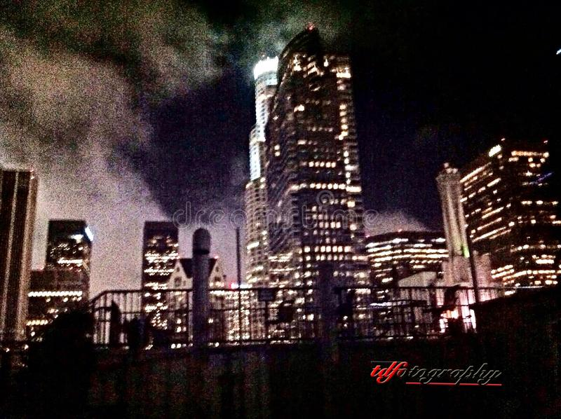 dtla- an animated photoeditorial royalty free stock photo