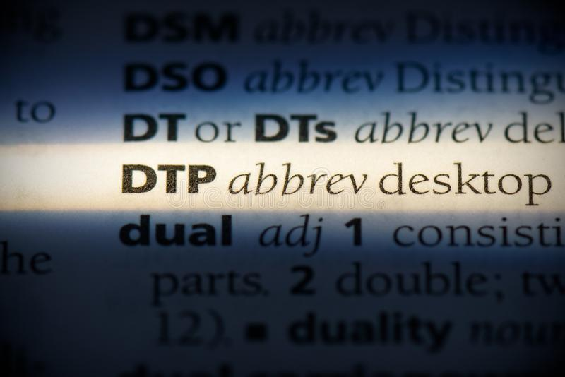 Dtp. Word in a dictionary.  concept, definition royalty free stock photo