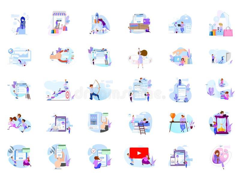 Duża kolekcja ludzie scen, mieszkanie stylowa ilustracja Pojęcia design royalty ilustracja