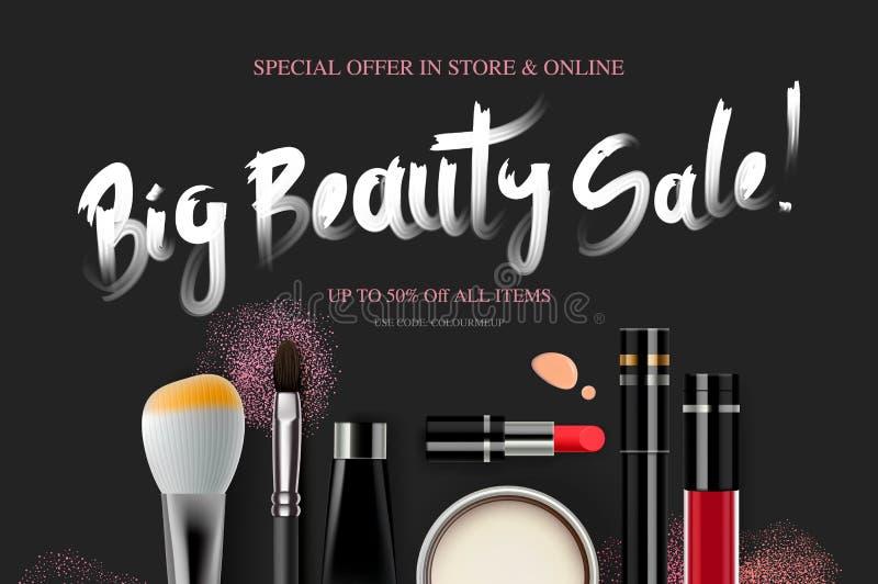 Duża piękno sprzedaż, kosmetyka sztandar dla robić zakupy sezon, makeup, akcesoria, wyposażenie, piękno, twarzowy, moda wektor royalty ilustracja