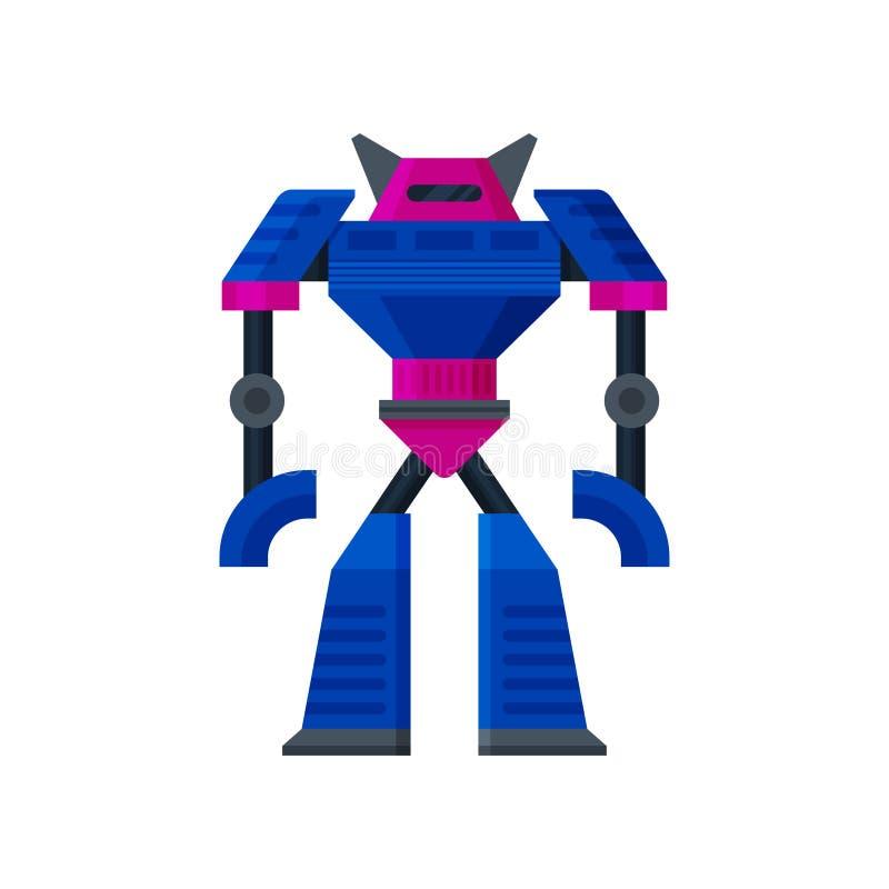 Duża stalowa błękitna transformatorowa pozycja sztuczna inteligencja Metalu humanoid robot Płaska wektorowa ikona royalty ilustracja