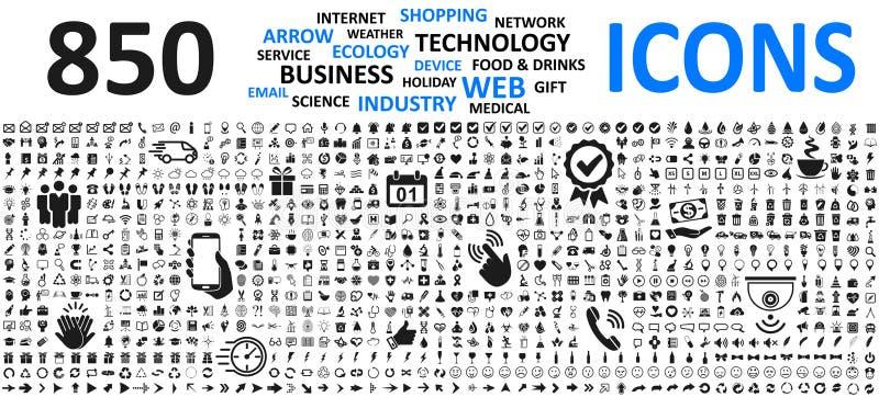 Duże ustalone ikony: biznes, zakupy, przyrząd, technologia, medyczny, ekologia, jedzenie, napój & jeszcze więcej dla jakaś skrzyn ilustracja wektor
