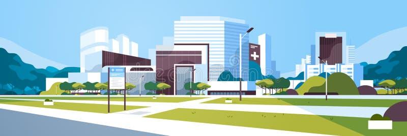 Dużego szpitalnego budynku medycznej kliniki nowożytna powierzchowność z jard informacji deski drzew pejzażu miejskiego tła miesz ilustracji