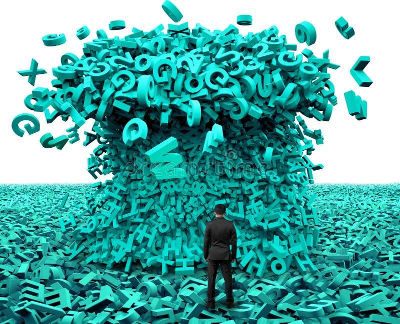 Duży Dane Biznesmen stawia czoło ogromną charakteru tsunami falę zdjęcie royalty free