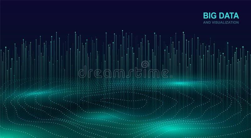 Duży dane unaocznienie Futurystyczny pozaziemski projekt dane przepływ Abstrakcjonistyczny cyfrowy tło z bieżącymi cząsteczkami f royalty ilustracja