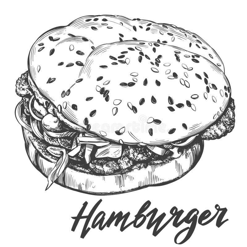 Duży hamburger, hamburgeru wektorowego ilustracyjnego nakreślenia ręka rysujący retro styl royalty ilustracja