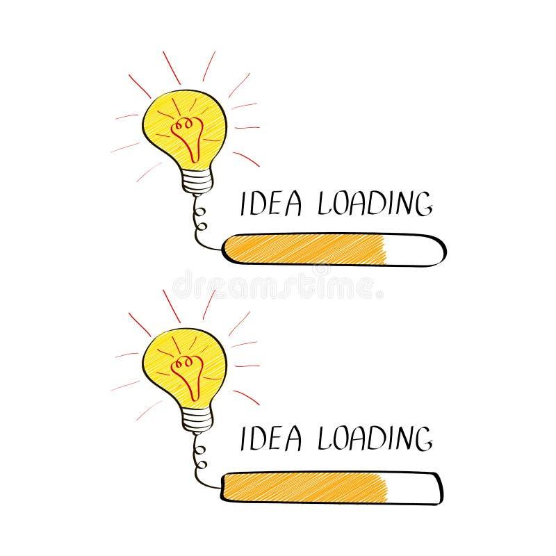 Duży pomysł z ładowanie barem w doodle stylu odizolowywającym na białym tle Kreatywnie główkowania proces ilustracji