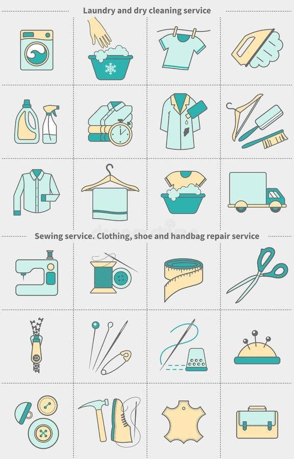 Duży set wektorowe liniowe ikony, etykietki, logo Suszy czyścić pralnianego i sukiennego domycie, szący, odziewający remontowej u royalty ilustracja