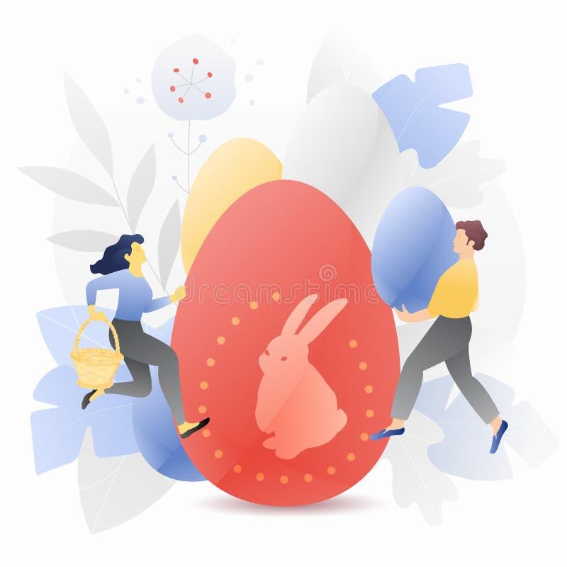Duży Wielkanocny jajko z Malutkimi ludźmi Ilustracyjnymi fotografia royalty free