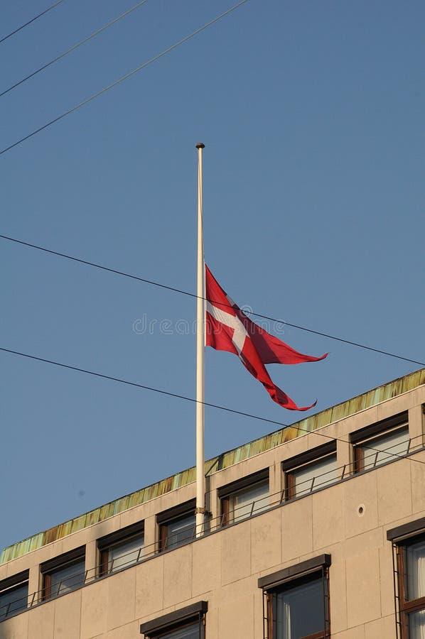 DUŃSKA flaga PRZY HAï ¿ ½ F MAST_CHILD_SOCIAL ministerstwem zdjęcia stock