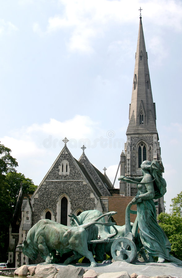 duński Copenhagen gefionspringvandet do kościoła obraz stock