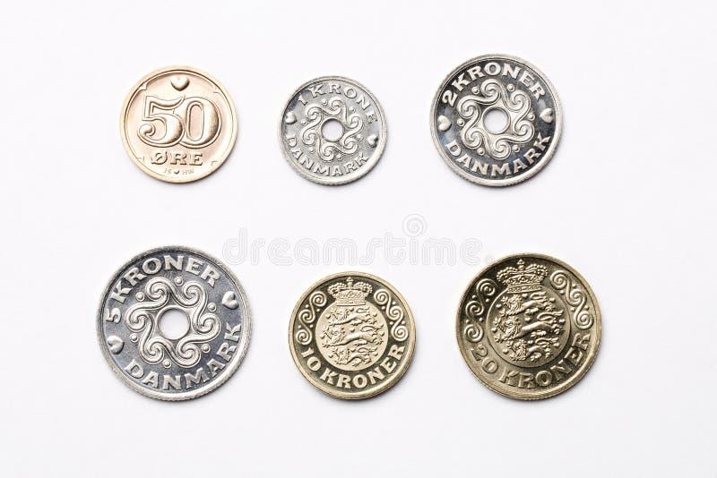 Duńskie monety na białym tle zdjęcia royalty free