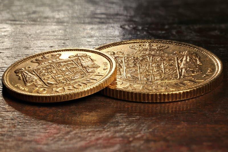 Duńskie złociste monety obrazy royalty free