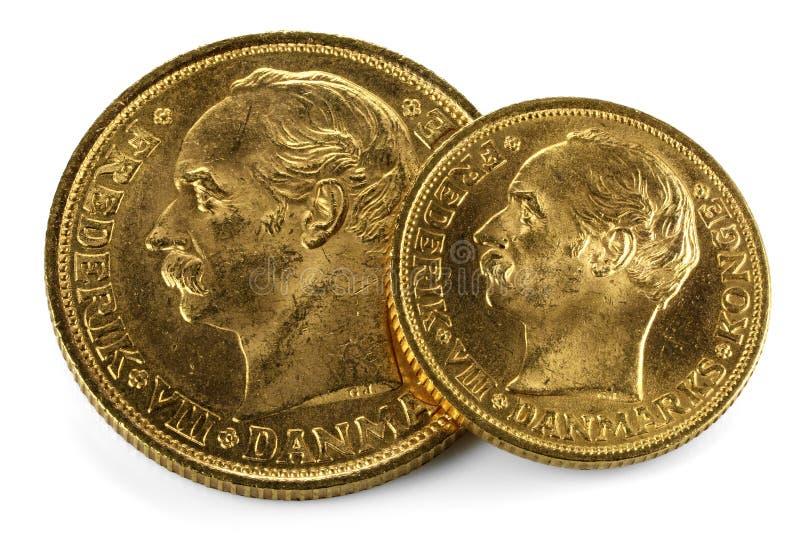 Duńskie złociste monety zdjęcia royalty free