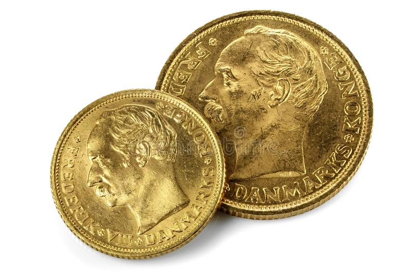 Duńskie złociste monety obrazy stock
