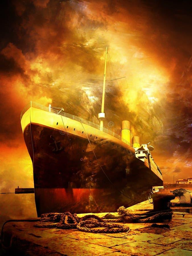 Duża łódź przy quay ilustracja wektor
