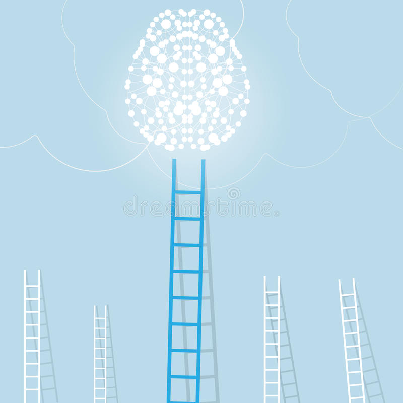 Duża błękitna drabina od lekkiego mózg z małym bielem ones bramkowego położenia pojęcia biznesowy tło ilustracji