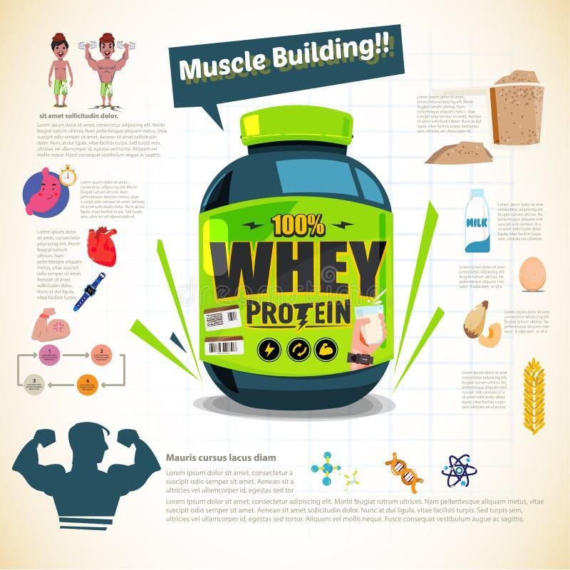 Duża balia serwatki proteina dla ciało budynku Sporta odżywianie W royalty ilustracja
