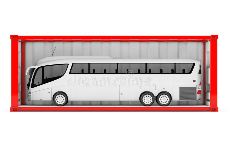 Duża bielu trenera wycieczka autobusowa w Czerwonym kontenerze z Usuwający royalty ilustracja