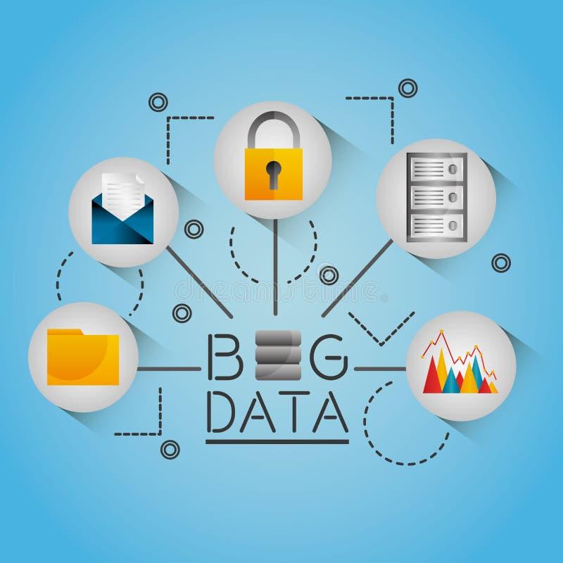 Duża dane informacja leje się sieć ilustracji